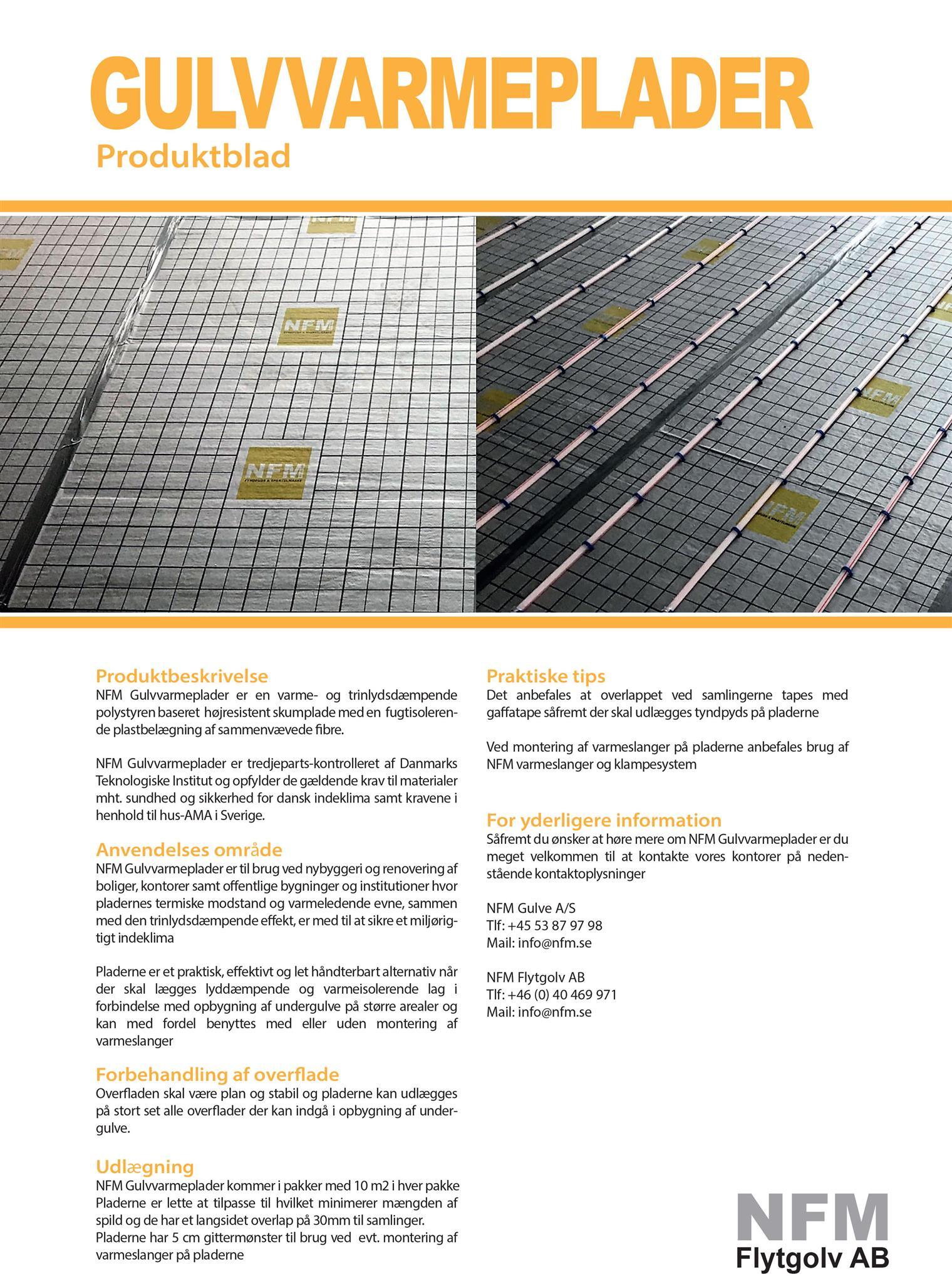 NFM Gulvvarmeplader Produktblad
